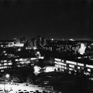 Highrise Dormitories at night
