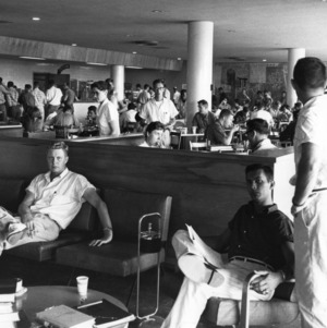 Students in cafeteria at Erdahl-Cloyd Student Union, North Carolina State College