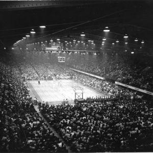 North Carolina State College basketball game at Reynolds Coliseum.