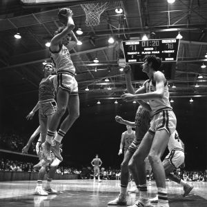 N. C. State basketball players Steve Graham and Tommy Burleson in game against Virginia