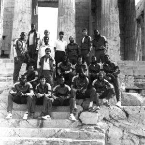 North Carolina State's 1984-1985 basketball team at the Parthenon in Athens, Greece.