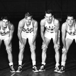 North Carolina State College basketball forwards (left to right) Sam Ranzino, Dick Dickey, Warren Cartier, and Charly Stine.