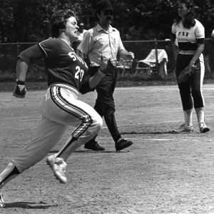 North Carolina State University softball player Sue Williams running the bases in game against Florida State.