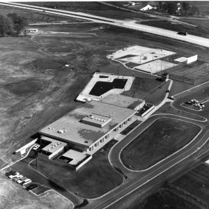 Aerial view of newly constructed Faculty Club, North Carolina State College