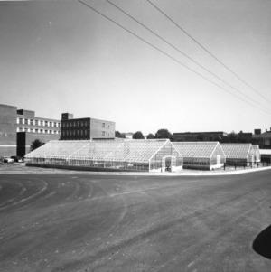 View of greenhouses behind Gardner Hall, North Carolina State College
