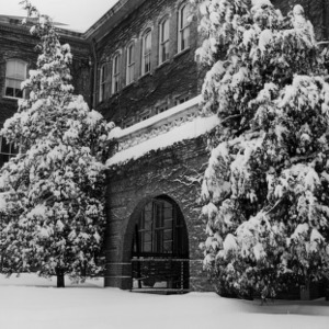 Winston Hall entrance in the snow