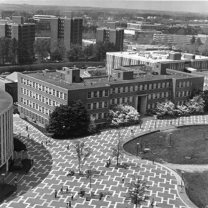 Bird's-eye view of Williams Hall and University Plaza (the Brickyard), North Carolina State University.