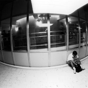 Student in Harrelson Hall (Fish-eye lens)