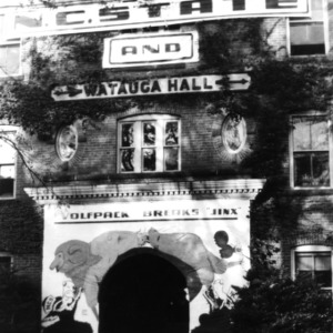 Watauga Hall, entrance decorated for game