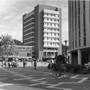 View looking northeast across University Plaza (the Brickyard) at D. H. Hill Library's bookstack tower, North Carolina State University.