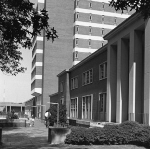D. H. Hill Library, view looking west from the corner of the East Wing