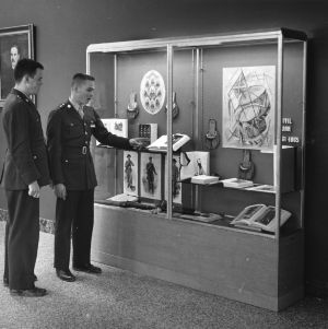 ROTC students view Civil War exhibit in D. H. Hill Jr. Library