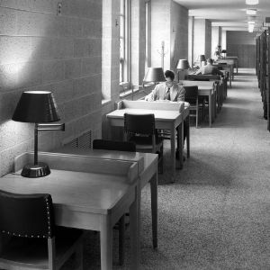 D. H. Hill Jr. Library, study tables in the stacks