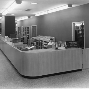 Circulation desk, D. H. Hill Library, North Carolina State College