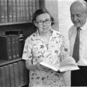 Government documents librarian Mary Elizabeth Poole and library staff member Albert Hardy in D. H. Hill Jr. Library