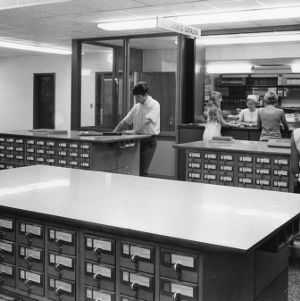 D. H. Hill Library interior, documents catalog, North Carolina State University, July 1972.