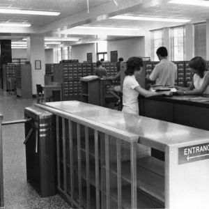East wing entrance and card catalogs, D. H. Hill Library.