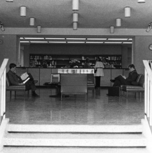 D. Hill Library lobby and main Circulation desk