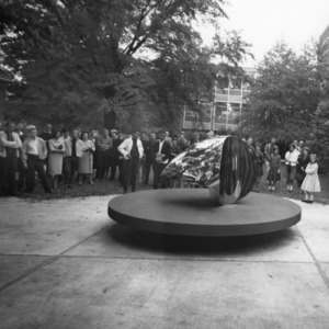 "Event for unveiling of Ellipsoid Construction sculpture, or ""The Egg,"" by Design professor Roy Gussow"