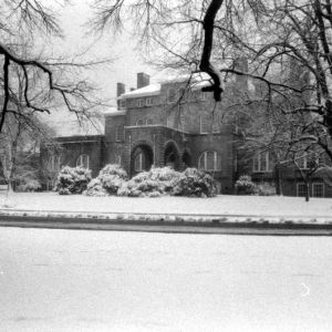 Holladay Hall, snow