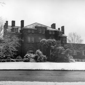 Holladay Hall, snow