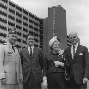 Mrs. Lee at dedication of new dormitory to the late Major General William Carey Lee