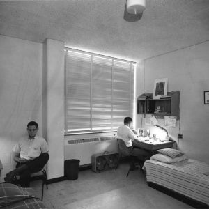 Two students studying in room, Lee Dormitory, North Carolina State College, June 18, 1964.