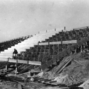 Riddick Stadium, west stands construction