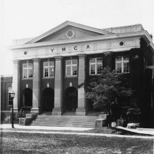 Entrance to YMCA Building, North Carolina State College; a gift from John D. Rockefeller covered half the cost of construction.