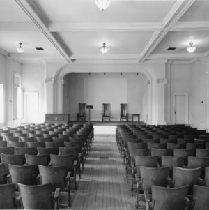 Interior view of auditorium in YMCA Building, North Carolina State College