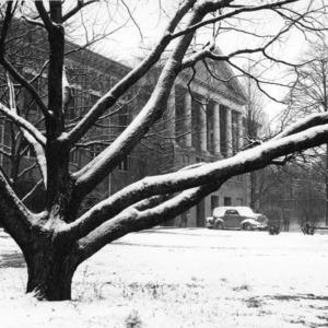 Winter view of Leazar Hall, North Carolina State College