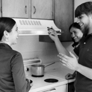 Metcalf Residence Hall, students cooking together