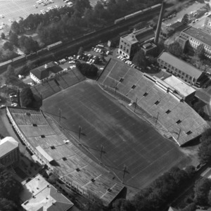 Aerial view of Riddick Stadium, North Carolina State College