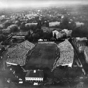 Aerial view of Riddick Stadium during North Carolina State College football game against Duke, September 28, 1946