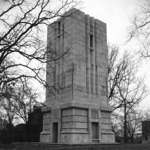 Memorial Tower started in 1921; building was resumed in 1935-1936, finished in 1937.