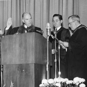 Dr. John T. Caldwell taking oath at his installation