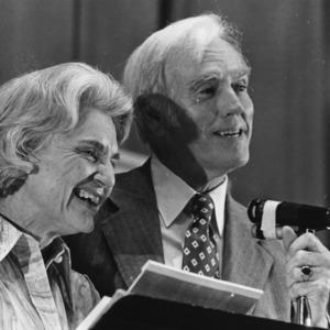 Chancellor John T. Caldwell and Carol Caldwell at his retirement reception