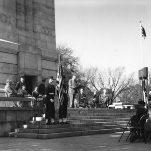 Former Governor R. Gregg Cherry of Gastonia was caught by the photographer as he made the principal address at the dedication services for the Memorial Tower at North Carolina State College, November 11, 1949.