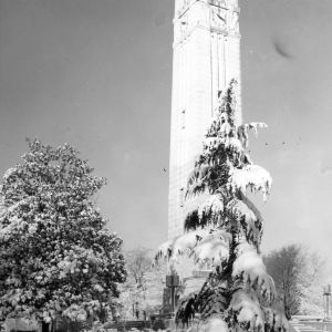 Memorial  Bell Tower, snow