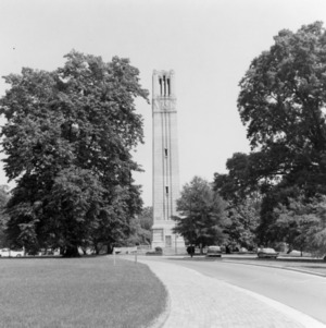 Memorial  Bell Tower, view driving north on Pullen Drive