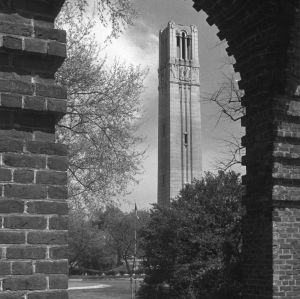View of Memorial Bell Tower looking northeast from entrance to Holladay Hall, North Carolina State College