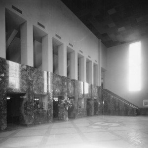 Interior view of Reynolds Coliseum lobby