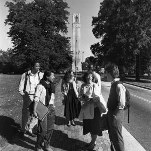 Students in front of Memorial Bell Tower