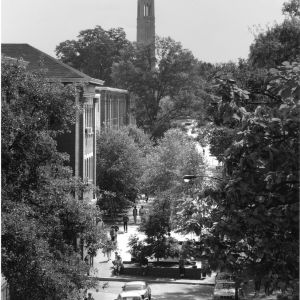 Bird's-eye view of North Carolina State College campus looking northeast toward Memorial Tower