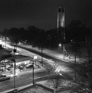 View from Hillsborough Street of Memorial Tower at night