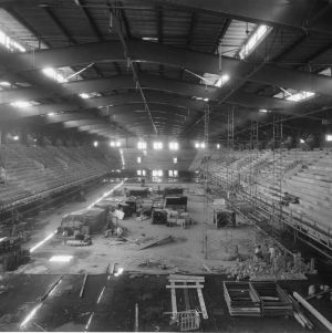 Interior view of Reynolds Coliseum under construction, August 25, 1949.