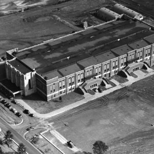 Aerial view of Reynolds Coliseum