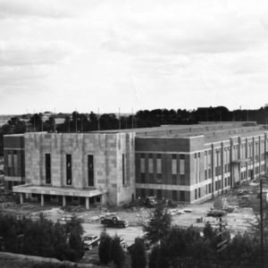 View of Reynolds Coliseum with construction almost complete, October 10, 1949.