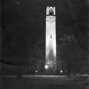 Memorial Bell Tower at night