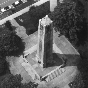 Memorial Bell Tower, aerial view